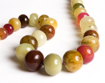 Earthy Gemstone Necklace with Serpentine, Garnet, Sterling Silver - Honfleur
