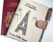 SALE 19.9  OOAK Passport wallet - I love Eiffel tower