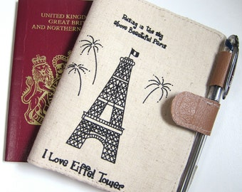 SALE 19.9  OOAK Passport wallet - I love Eiffel tower