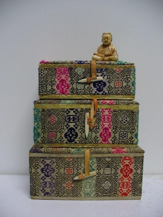 Set of 3 Vintage Asian Silk Boxes