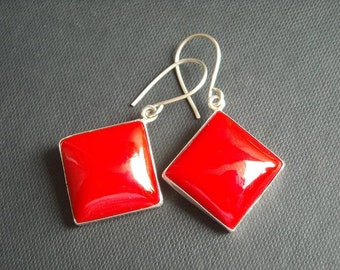 Red coral earrings - Red earrings - Square cut earrings - Bezel earrings - Gemstone earrings - Christmas gift idea