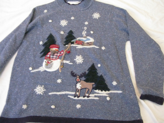 Flannel snowman fishing with reindeer ugly christmas sweater for Fishing ugly christmas sweater