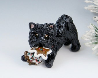 Chow Chow Black Christmas Ornament Figurine Cookies Porcelain