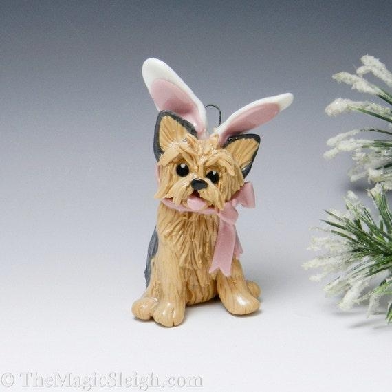Yorkshire Terrier Ornament Figurine Bunny Ears Porcelain