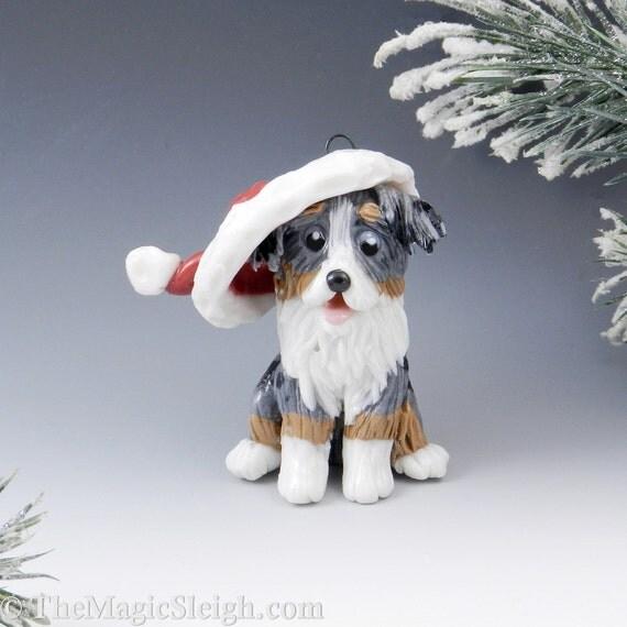 Shepherd Gold On Blue Silhouette Ornament: Australian Shepherd Ornament Santa Hat Porcelain By