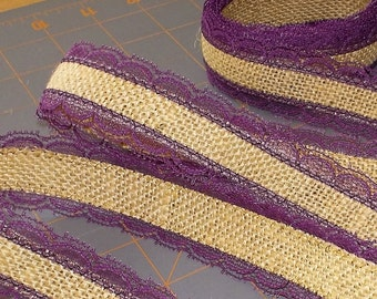 Violet Lace with Burlap Ribbon - 1.5 inch x 3 yards