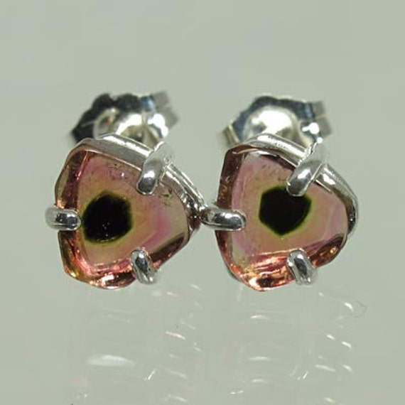 Natural Watermelon Tourmaline 2.48 carats t.w. Handset in .925 Sterling Silver Earrings