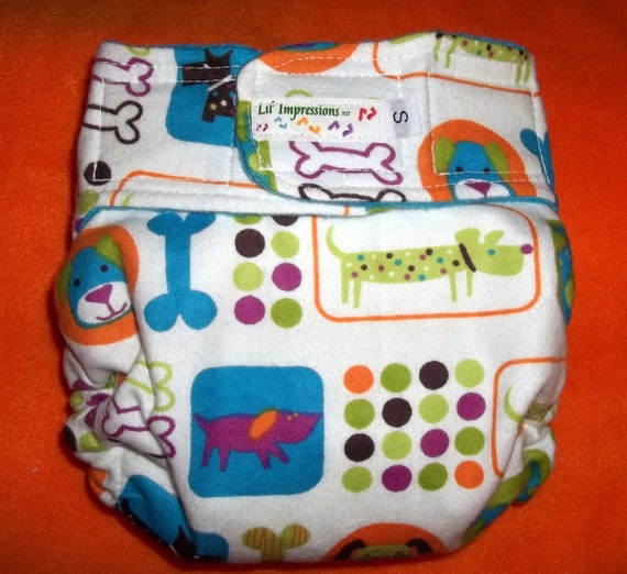 Lil' Impressions AI2 Pocket cloth diaper, Bright Puppies (flannel), You pick size