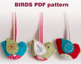 PDF pattern - Felt Christmas ornaments birds