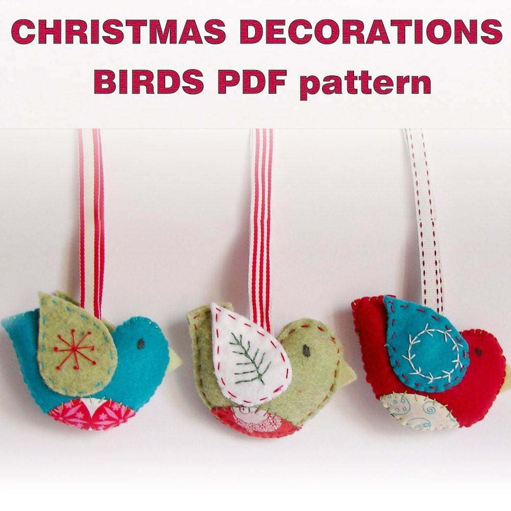 Free Christmas Ornament Template: PDF Pattern Felt Christmas Ornaments Birds By Roxycreations