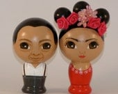 Frida Kahlo and Diego Rivera Wedding Cake Toppers Hand Painted on Wooden Kokeshi Dolls by Dandelionland