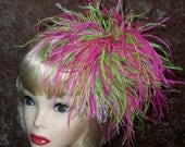 Custom Made Lime Green, White and Hot Pink Feather Fascinator Headband,Taissa Lada Designs,Ostrich Feathers,Bridal,Flapper Headband,Cosplay