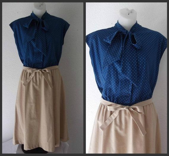 polka dot dress - 1970s dress - Small - Medium