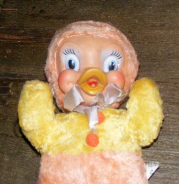 Vintage Gund Chicken Or Duck Rubber Face Plush With Big Eyes
