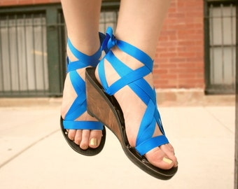 High Wedge Ribbon Slide Sandal by Mohop | Handmade Vegan Shoes with 5 Interchangeable Ribbons