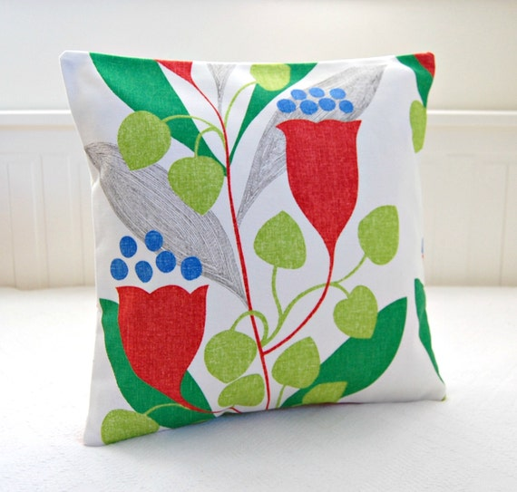 decorative pillow cover red flowers lime green by LittleJoobieBoo