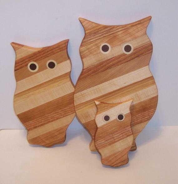 3 Owl Wood Cutting Board Set