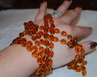 3ft of Fabulous Topaz Czech 8mm Faceted Rosary Chain with Gold Links