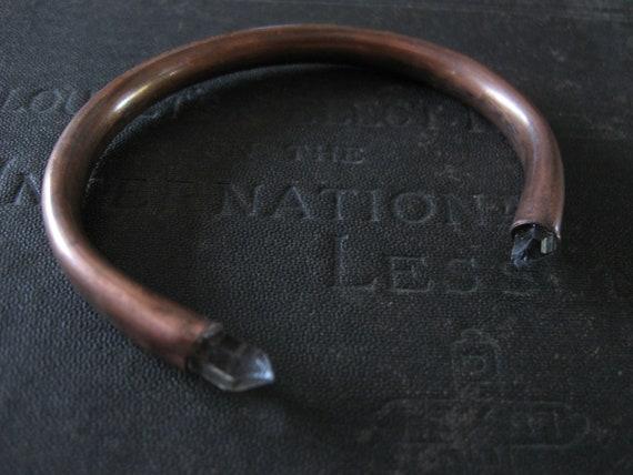 Bypass - Minimalist Industrial Copper Cuff Bracelet with Quartz