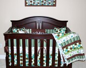Crib Skirt and Quilt 2 Piece Custom Crib Baby Bedding Blanket MInky Stripe Patchwork Heirloom Picture Frame 9 Patch Tummy Time Toddler