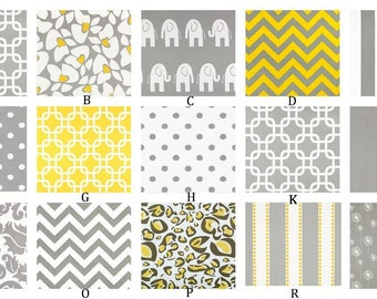Gray and Yellow Custom Crib Bedding Set  YOU DESIGN  - Yellow and Gray