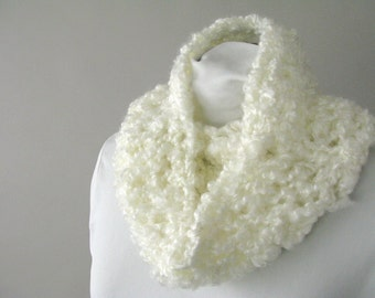 Soft White Cowl for Women - Hand Knit Circle Scarf