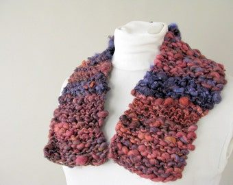 Handknit Chunky Thick Knit Scarflette - Burgundy and Purple