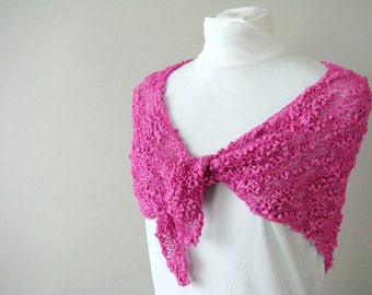 Neon Spring Hand Knit Raspberry Pink Triangle Scarf