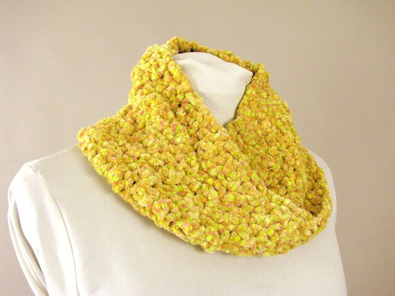 Handmade Yellow and Pink Chunky Chenille Infinity Cowl - Loop Scarf for Adult Females