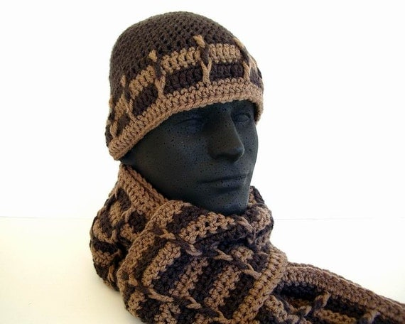 Crochet Pattern Hat Scarf Combo : Mens Unisex Scarf Hat Combo Set Toast Tan Dark by ...