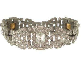 Art Deco Bracelet, MAZER Vintage Cuff, Wide Designer Rhinestone Link, 1920s Art Deco Antique Jewelry, Wedding Jewelry