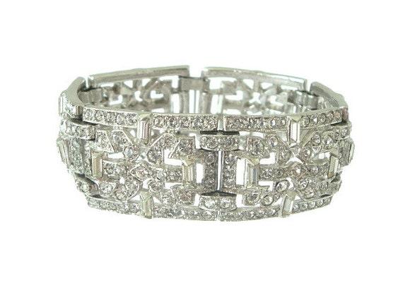 Ledo Bracelet Wide Vintage Rhinestone Link Deco Styling 1940s Wedding Jewelry