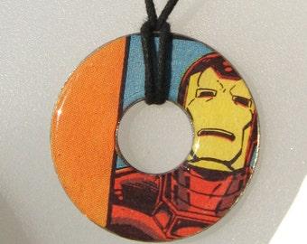 IRON MAN Vintage Comic Book Upcycled Washer Hardware Pendant Necklace The Avengers Marvel Comics