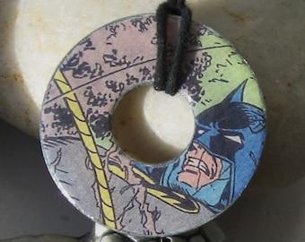 BATMAN Vintage Upcycled Comic Book Hardware Washer Pendant Necklace DC Comics
