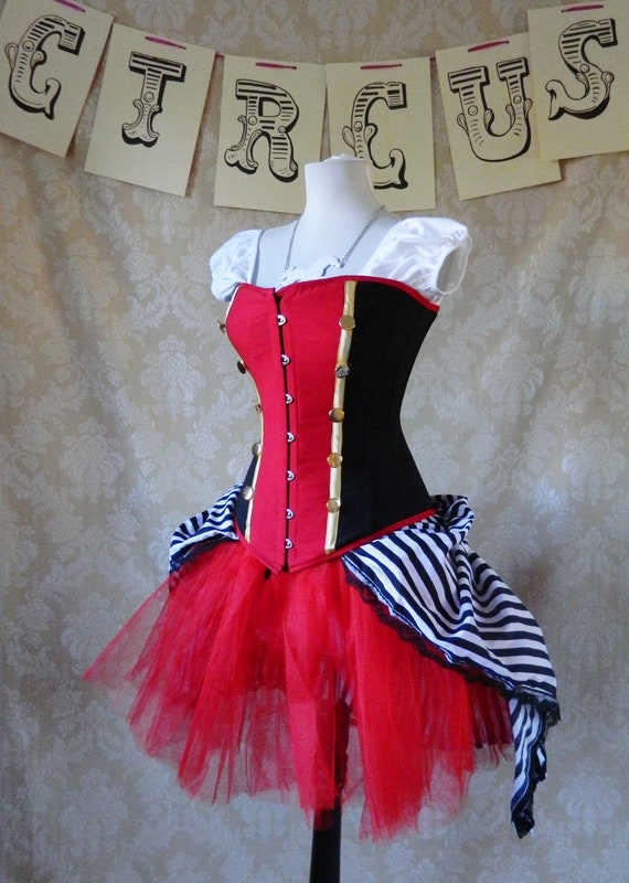 "Psycho Circus Bustle Tie On Skirt and Tutu Set-To Fit Up To A 34"" Waist"