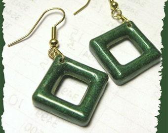Open Square Green Resin Earrings