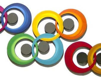Bold & Colorful Contemporary Modern Abstract Circle Design Wood Wall sculpture Art with Mirrors