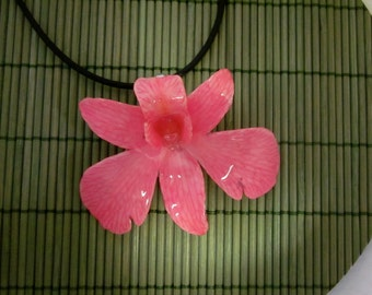 Real Dendrobium Orchid Necklace - Sweet Pink on 18 inch black cord