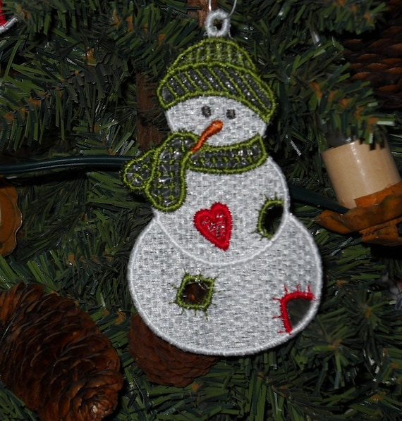 Fsl Snowman Machine Embroidery Ornaments Set Of Five