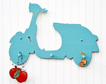 Vespa Sign Scooter Coat Rack Blue Home Decor