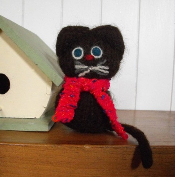 Baby Kitten Barn Cat Hand Knit Felted with Scarf
