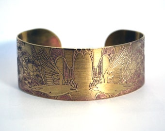 Rook Crow Brass Cuff Bracelet Etched Brass