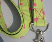 ID Badge Lanyard Pink and Lime polka dots
