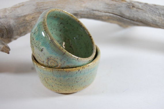 Pottery Prep Bowls Sea Spray Glaze  Salt Bowl Candle Holder Trinket Bowl 2