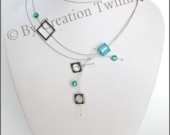 turquoise necklace, urbain funky necklace, christmas gift idea, modern necklace, mother gift, bridesmaids gifts,