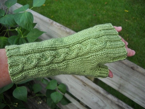 Fingerless Gloves, Thumb, Texting or Cell Phone Gloves, Celery color, Seamless Handknit Cable Pattern, 1 Sz, Vegan SHIPS FREE