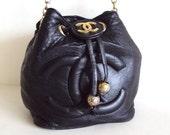 Vintage 80s Black Lambskin Bucket Chanel Crossbody Bag