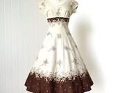vintage 1950's dress ...beautiful BRENDA ORIGINAL irish linen embroidered princess seams full gored skirt shelf-bust pin-up party dress