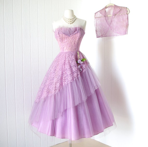 vintage 1950's dress ...fanciful LAVENDER & LILAC TULLE bursting shelf-bust asymmetrical floral swag full skirt prom party dress with bolero