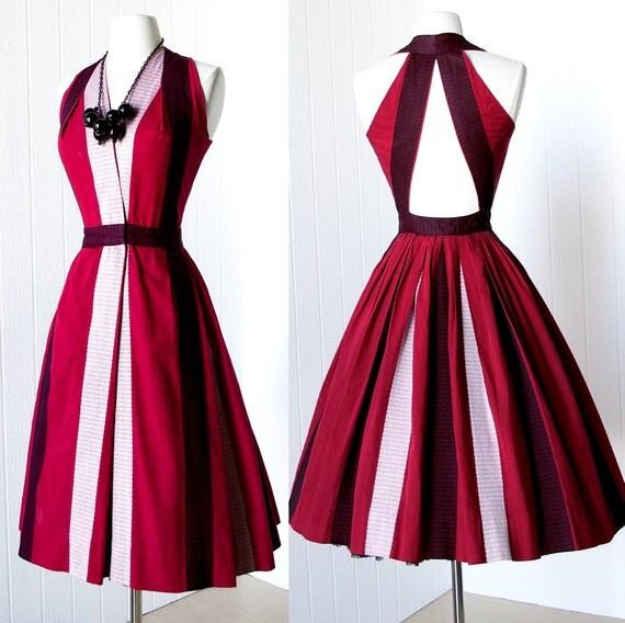 vintage 1940's dress ...rare early designer JOSET WALKER red black white guatemalan halter full skirt dress